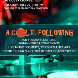 COLT TUESDAY at LOOKOUT, 7/22 - FREE ADMISSION & APPETIZERS!